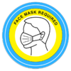 face mask required circular wall signage