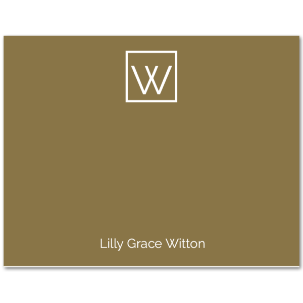 Women's Flat Note Cards (A2): Monogram & Name