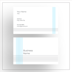 business card blue gray stripes