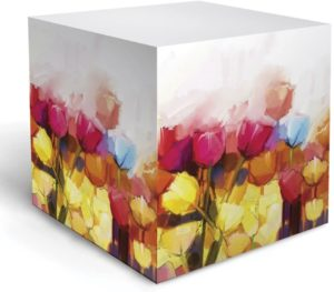 watercolor tulip note cube