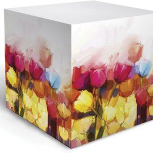 watercolor tulip note cube