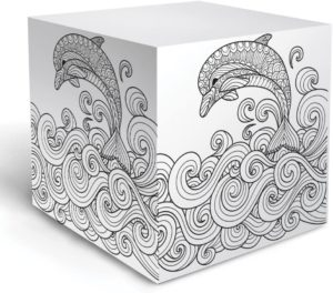 dolphin coloring note cube