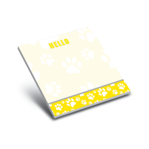 yellow paws sticky 3 x 3 notepads