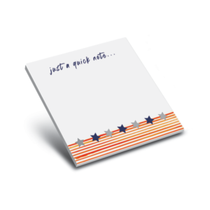 3 x 3 sticky note pad red stripes and stars