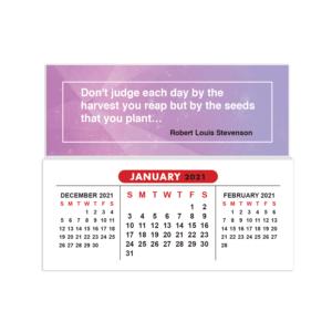 2021 mini sticky calendar inspirational quote purple