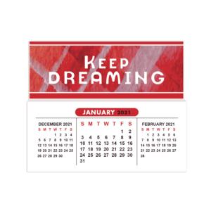 2021 mini sticky calendar keep dreaming