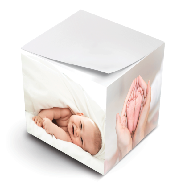 photo paper sticky note cube baby feet