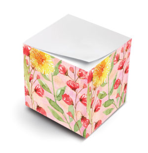 watercolor marigold sticky note cube
