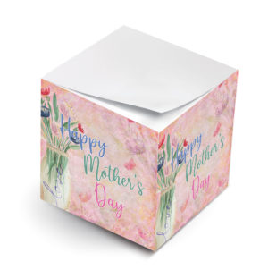 happy mothers day floral vase sticky note cube