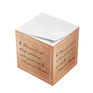Benjamin Franklin Take Time For All Sticky Note Cube